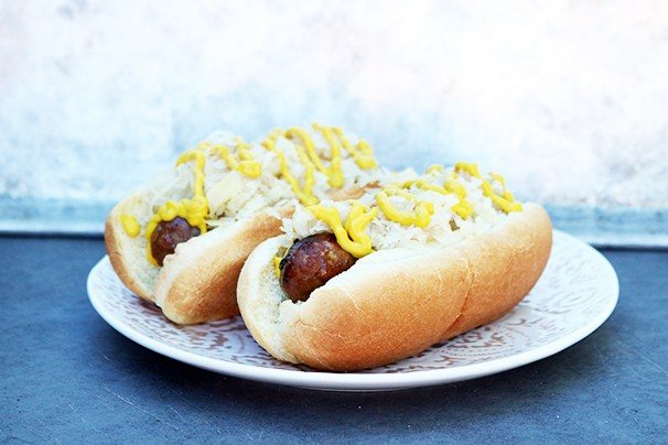 Two Wisconsin Beer Brats on a plate