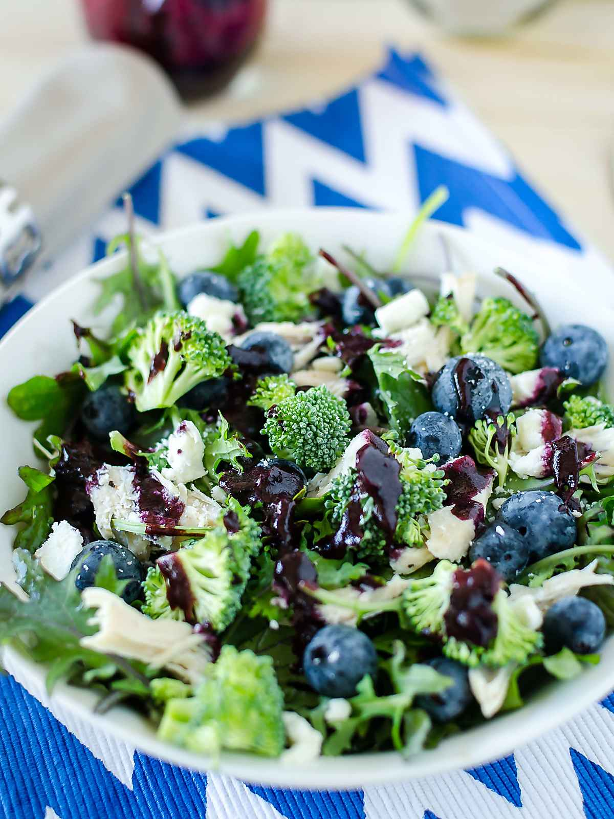 Baby Kale Broccoli Blueberry Salad in a bowl