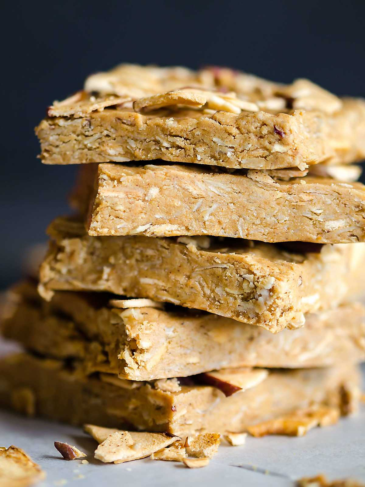 A stack of pieces of no-bake oatmeal energy bites