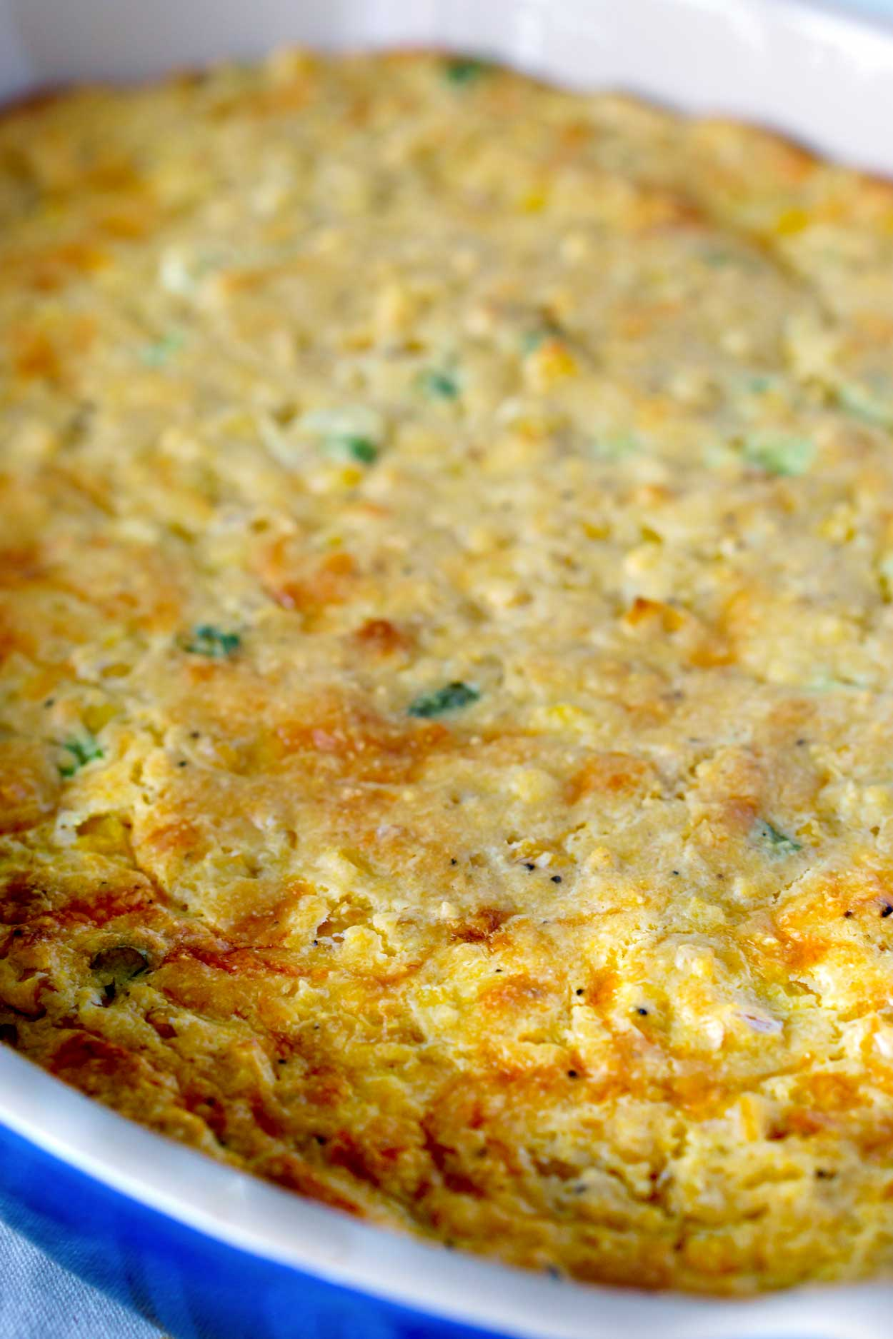 Cornbread Casserole with Cheese can Scallions