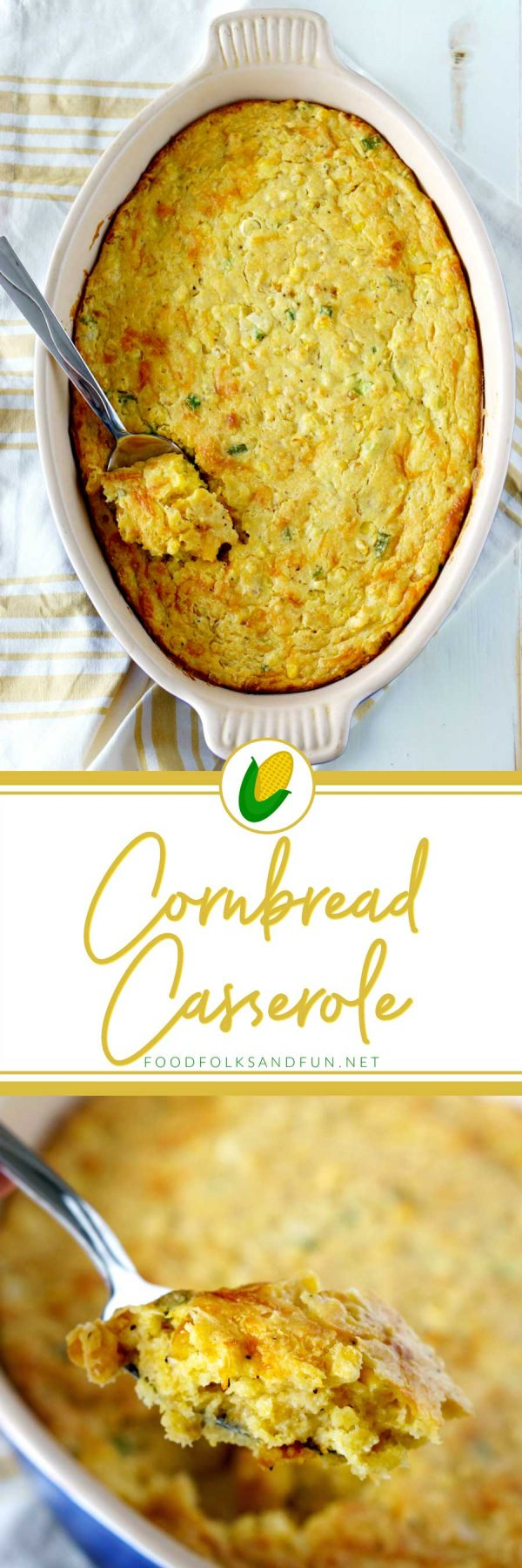 Super Easy Cornbread Casserole with Cheese and Green Onions