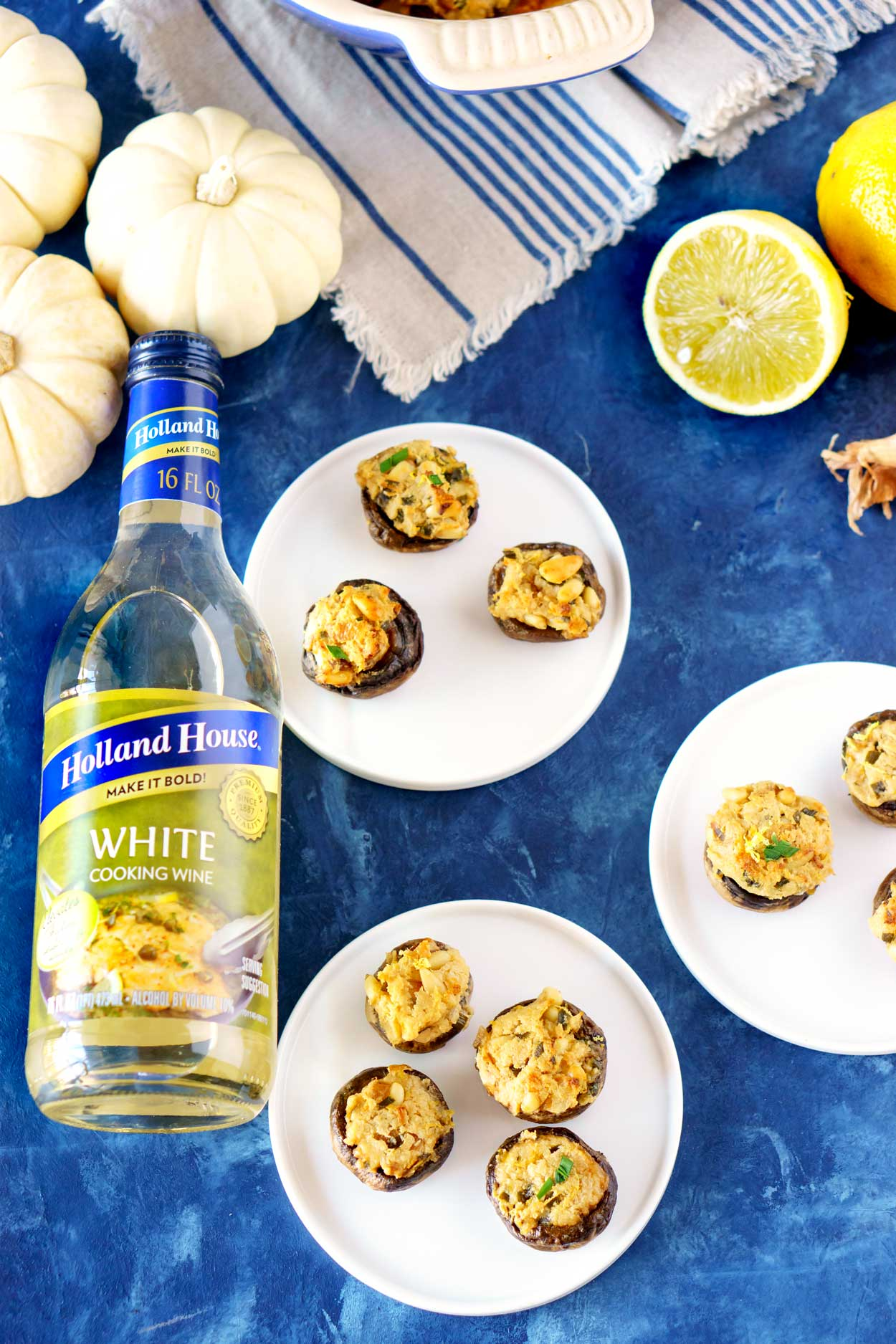 Stuffed Mushrooms with Goat Cheese and Pinenuts that can be made ahead of time!