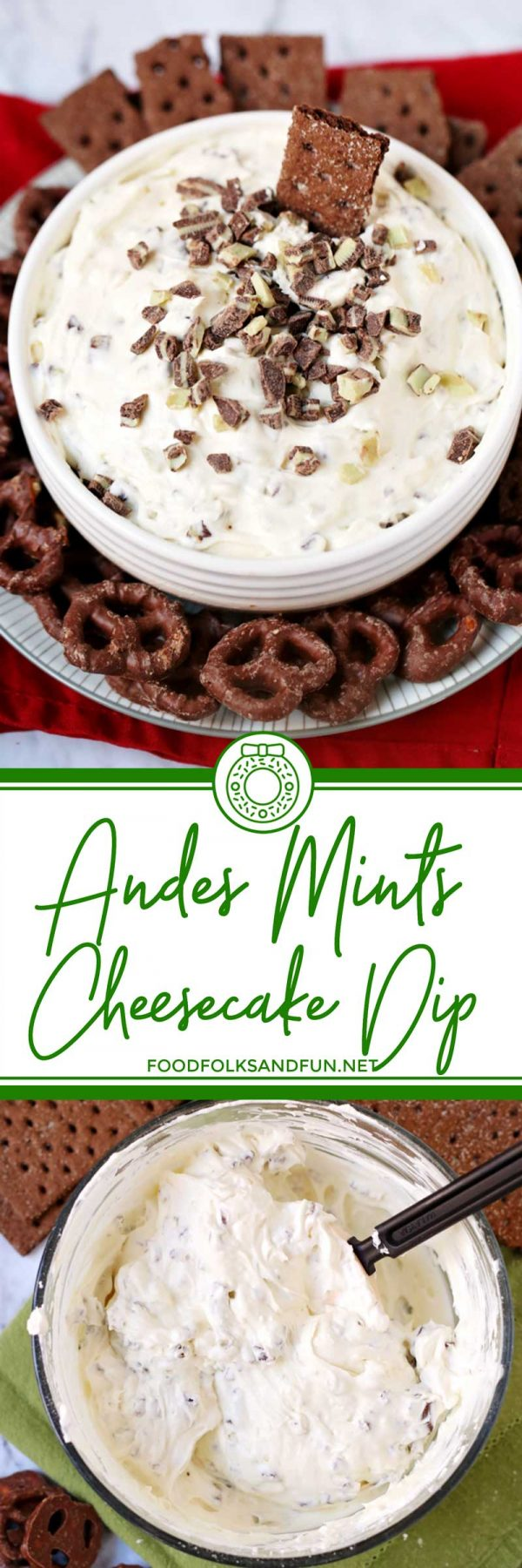 This Andes Mint Cheesecake Dip is a quick & easy holiday dessert dip that comes together in 10 minutes! It's creamy, delicious and has a hint of Créme de Menthe flavor. via @foodfolksandfun