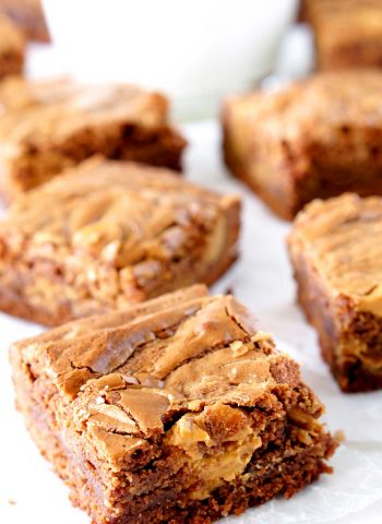 Slices of peanut butter swirl brownies