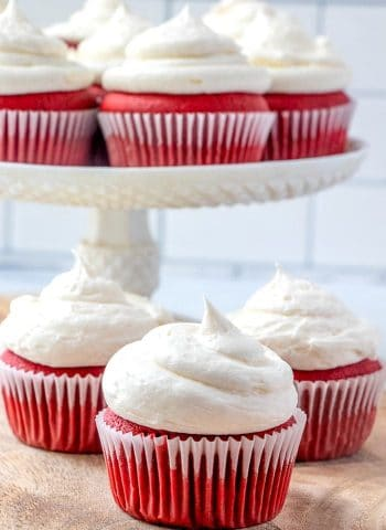The best red velvet cupcakes ready to be served.