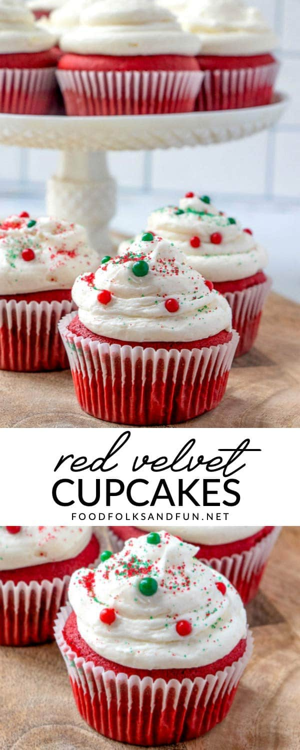 You'll LOVE this moist Red Velvet Cupcakes Recipe! It's perfect any time of the year, plus these red velvet cupcakes are completely homemade and cost just 70¢ per cupcake to make!  via @foodfolksandfun