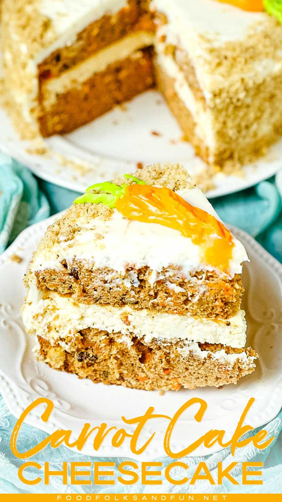 Carrot Cake Cheesecake Cake is the perfect Spring dessert. It's comprised of two layers of delicious carrot cake, a layer of cheesecake, and smothered in the best cream cheese frosting to make one glorious cake! via @foodfolksandfun