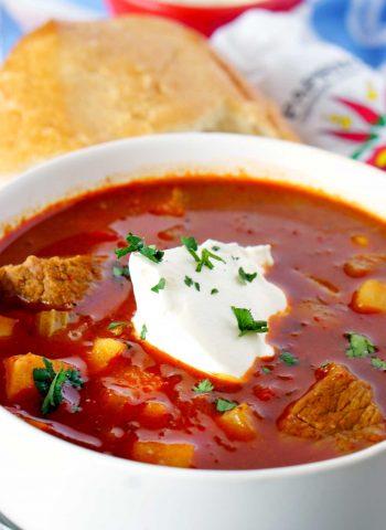 A bowl of Proper Hungarian Goulash