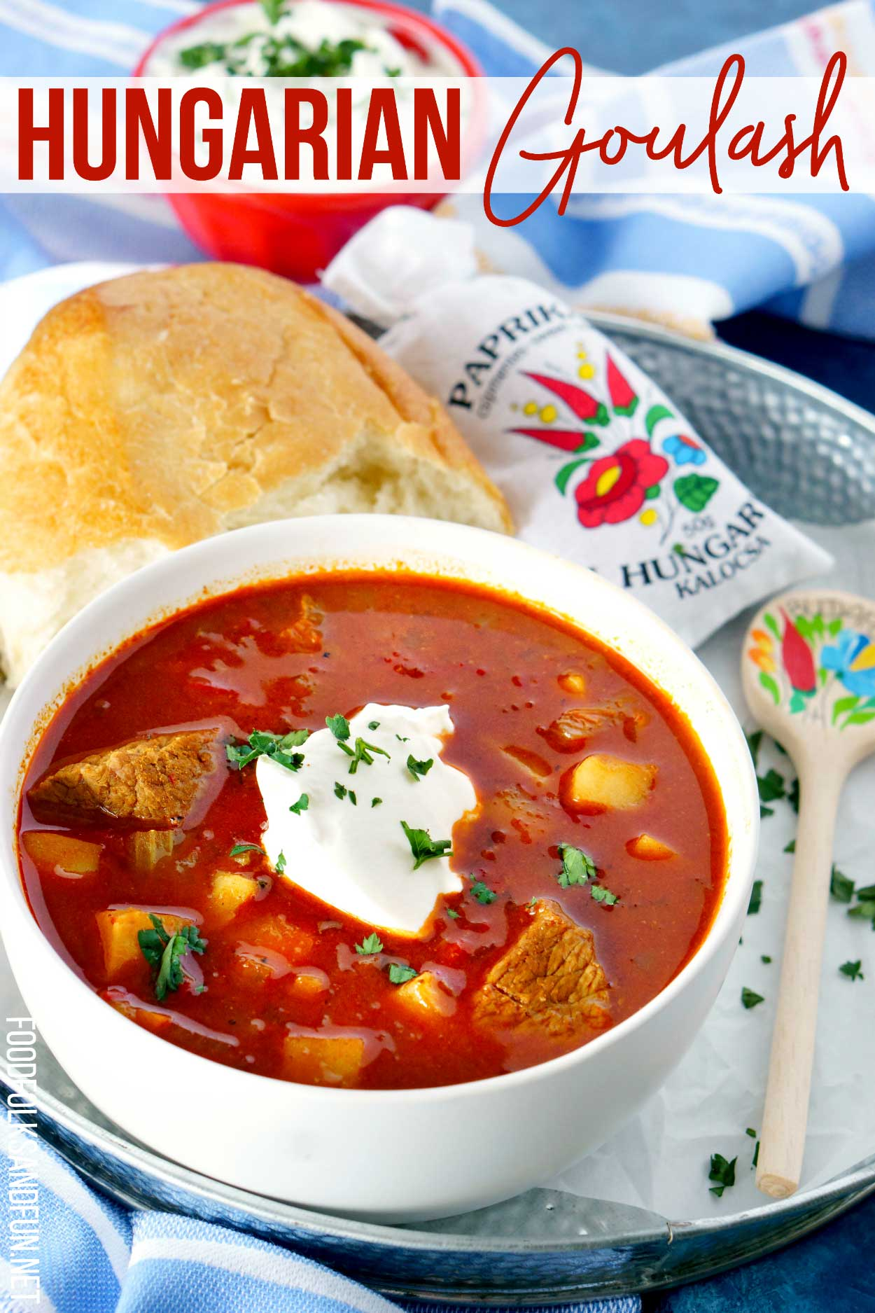 Goulash is the ultimate Hungarian Comfort food. It's a hearty beef stew that's so flavorful thanks to sweet Hungarian paprika, peppers, onions, garlic, tomato paste, and caraway seeds. It's a dish that can be enjoyed year round. via @foodfolksandfun