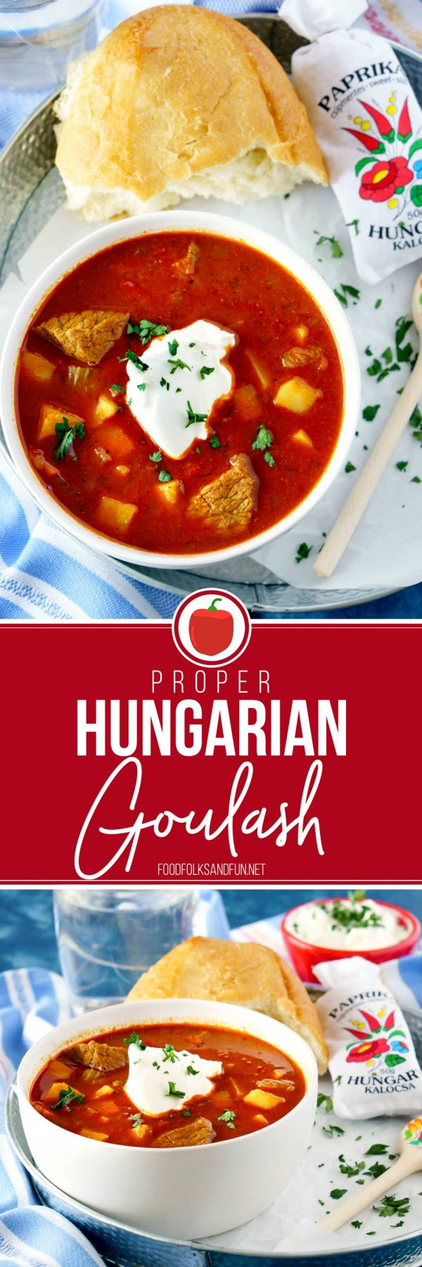 The Best Hungarian Goulash recipe! Picture collage for Pinterest.
