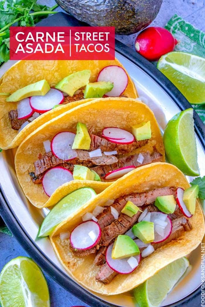3 Carne Asada Street Tacos on a plate