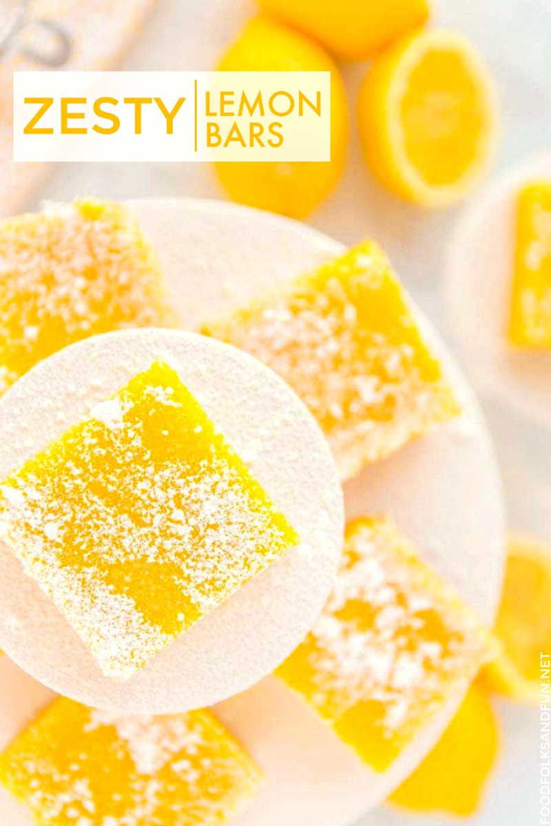 The sweet, buttery soft shortbread cookie crust and the luscious creamy filling with a zesty lemon flavor gives these Lemon Bars the perfect balance between sweet and sour. #lemon #lemondessert #dessert #dessertrecipe #summer #sumerrecipe #summerdessert #lemonrecipe #foodfolksandfun via @foodfolksandfun