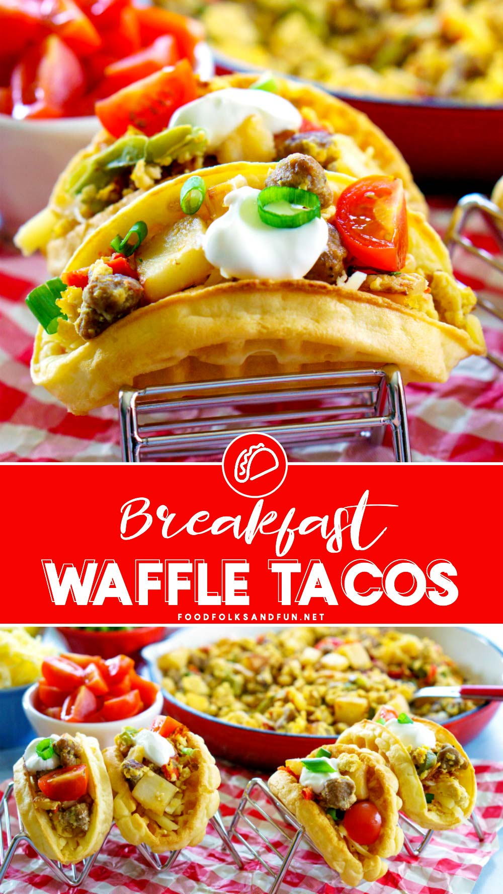 These Breakfast Waffle Tacos are just the easy weeknight brinner or breakfast recipe that you need for back-to-school! The breakfast tacos are loaded with sausage, potatoes, red and green peppers, and onions! #breakfast #brunch #brinner #tacos #waffles #breakfasstrecipe #easyrecipe #brinnerrecipe #foodfolksandfun via @foodfolksandfun