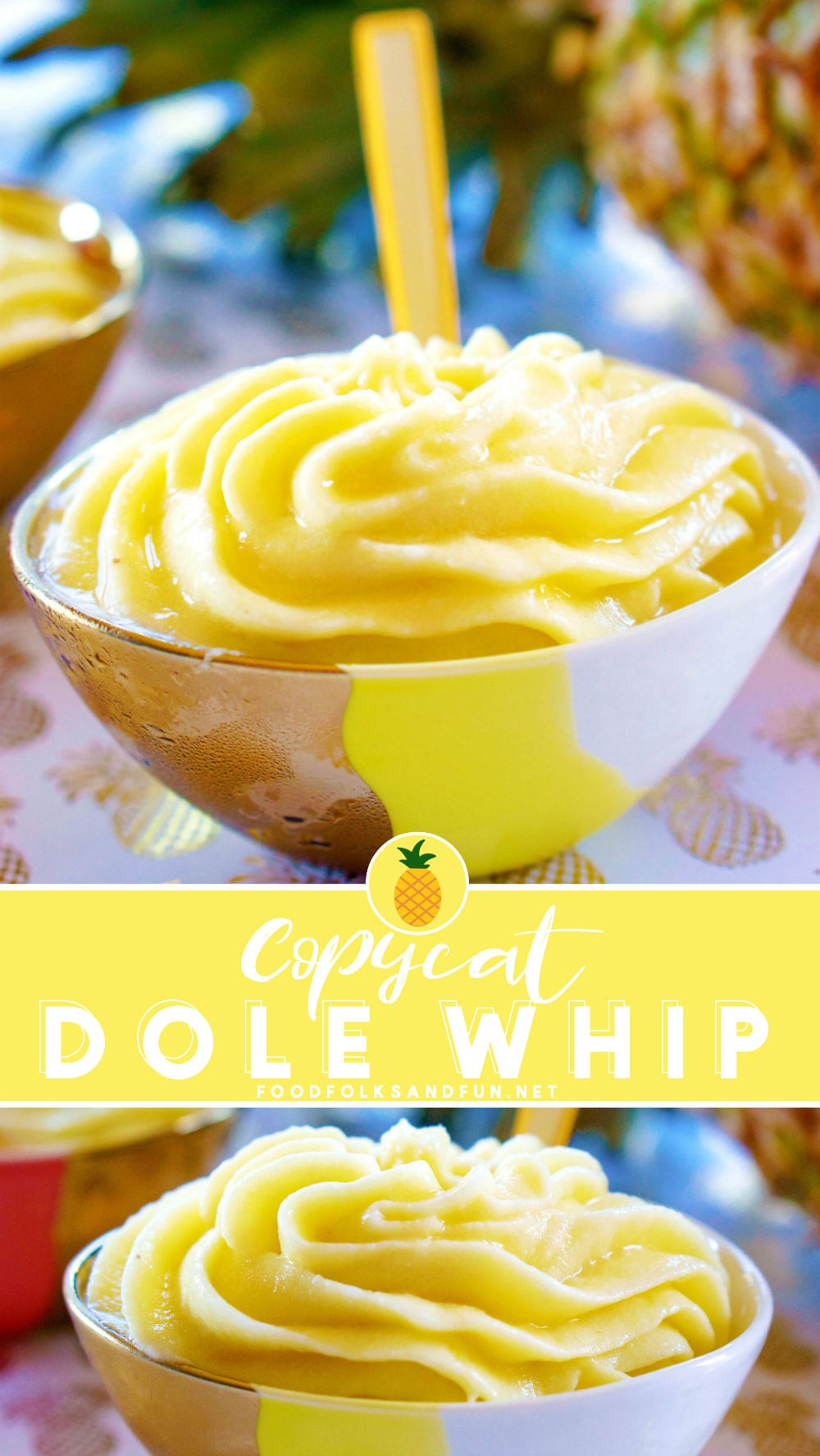 If you love Dole Whip then you'll love my copycat version of the classic Disneyland and Dole Plantation treat! It's so easy to make; all you need are just 3 ingredients and 5 minutes! #pineapple #dolewhip #copycat #copycatrecipe #Disneycopycat #pineapplerecipe #pineappledessert #summer #summerrecipe #summerdessert #foodfolksandfun via @foodfolksandfun