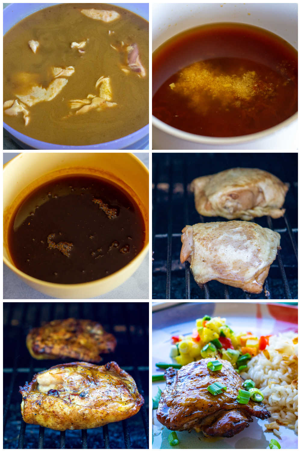 A picture collage of how to make these grilled chicken thighs.