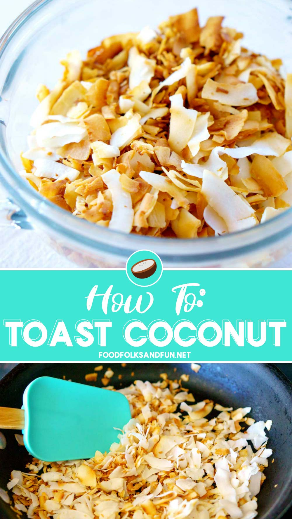 Have you ever wondered how to toast coconut? Well, learn how in this post! I'll show you how to toast coconut on the stovetop and in the oven! My methods work great for shaved coconut, and shredded coconut - both sweetened and unsweetened! via @foodfolksandfun