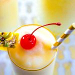 Virgin Pina Colada made with pineapple juice, cream of coconut, and ice!