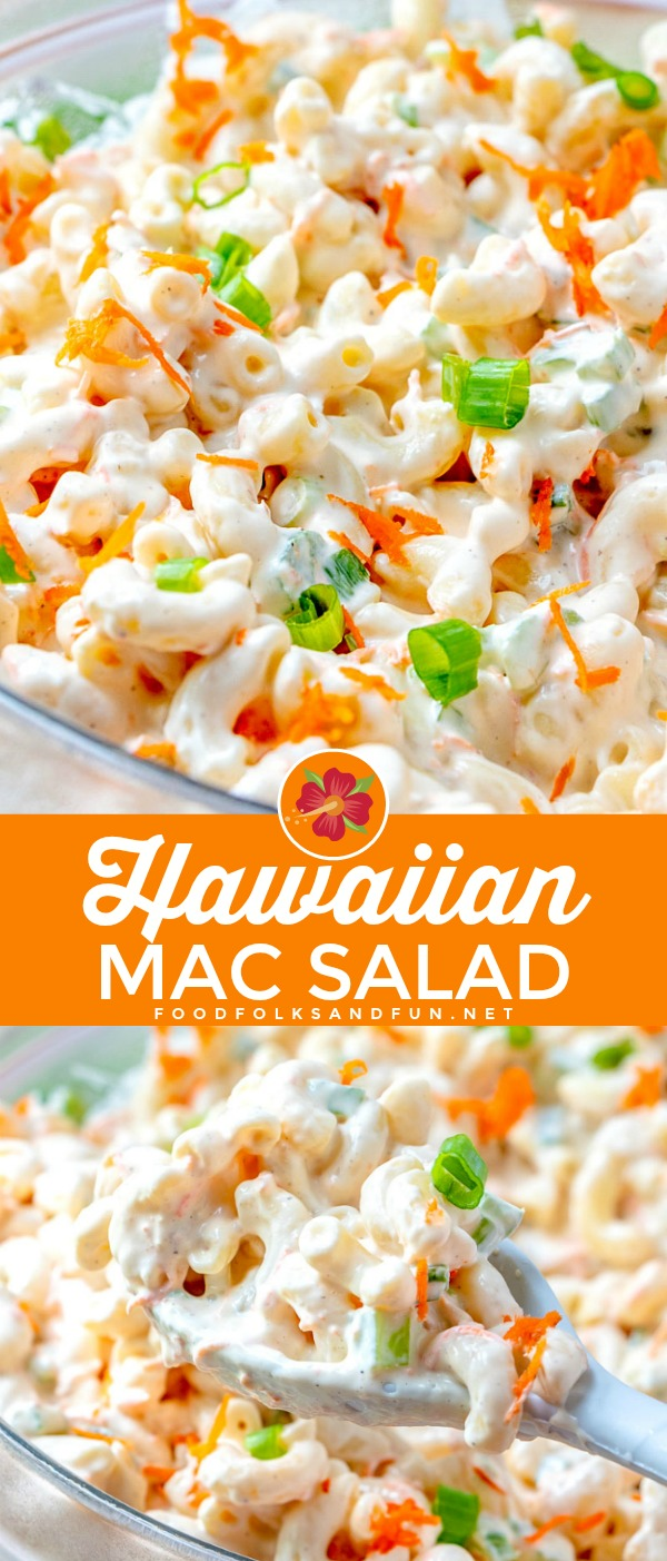 This Classic Hawaiian Macaroni Salad recipe has a delicious creamy dressing that's tangy, sweet, and totally addicting! It tastes just like it came from a Hawaiian Food Truck. Plus it cots just $5.39 to make! via @foodfolksandfun