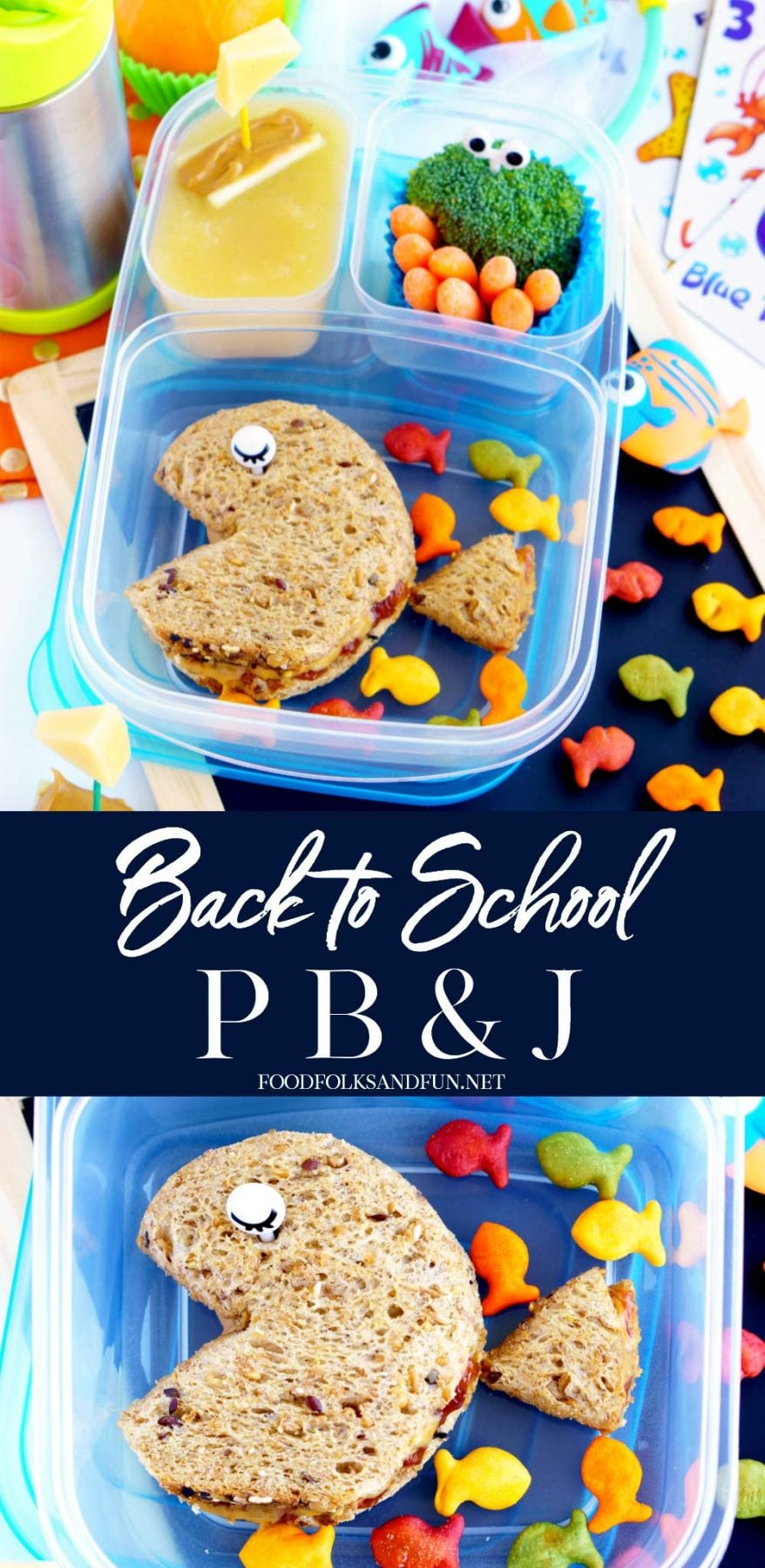 Your kids will love this Fish Cut-Out Back-to-School Peanut Butter and Jelly Sandwich at lunchtime. It's easy to prepare and so fun! via @foodfolksandfun