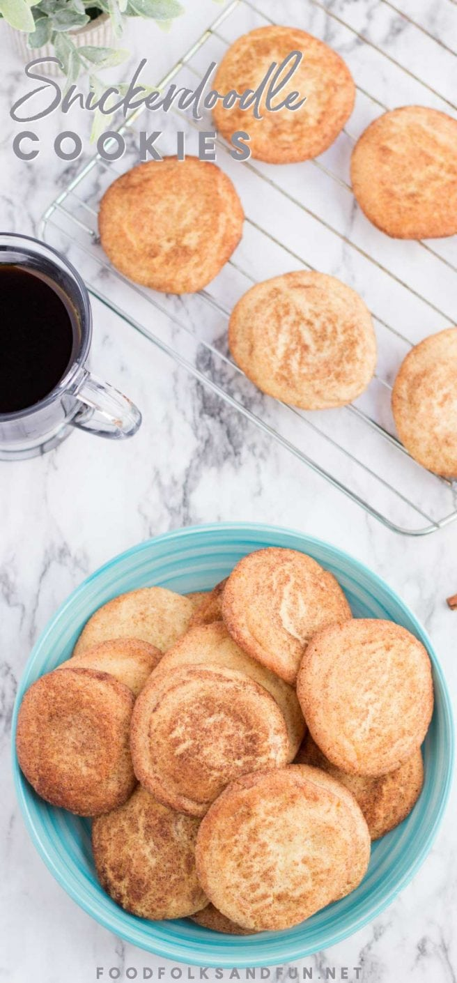 These chewy and tangy Snickerdoodle cookies have a light texture and are covered with glistening cinnamon sugar. Grab the kids, they'll love helping you coat the dough balls in cinnamon sugar!