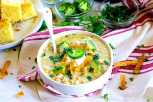 Creamy White Chicken Chili in a bowl