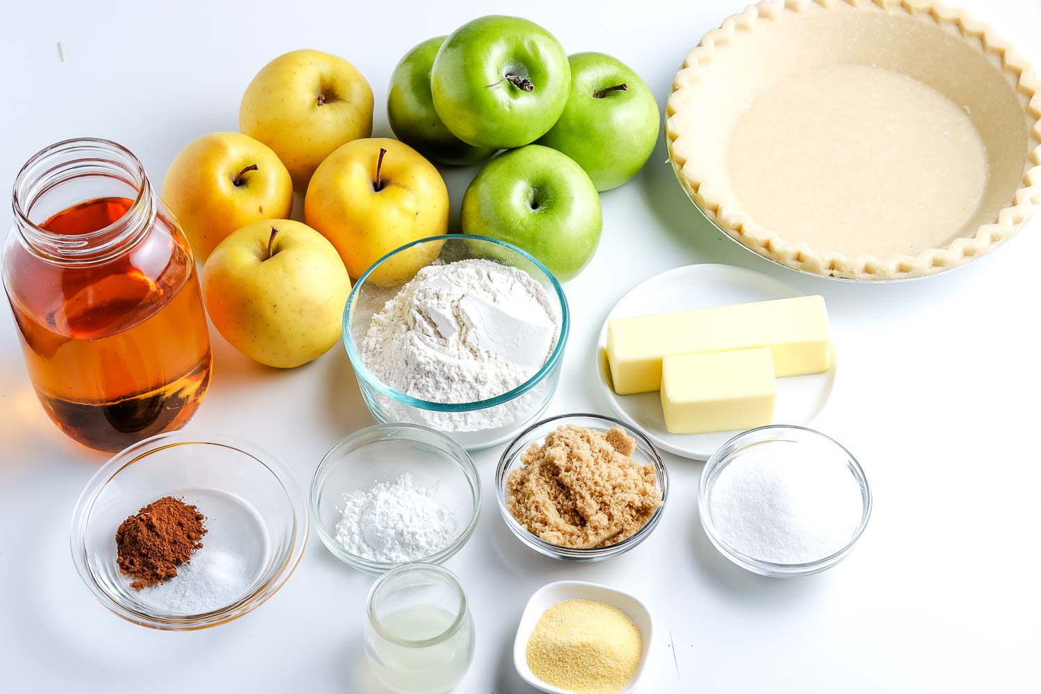 All of the ingredients needed to make this Dutch Apple Pie recipe.