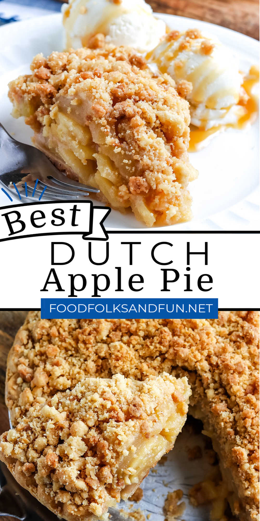 This Semi-Homemade Dutch Apple Pie recipe has a flaky bottom crust, a spiced homemade apple pie filling, and a generous buttery crumble topping. via @foodfolksandfun