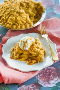 This Quick Dutch Apple Pie recipe is not as easy as dumping canned pie filling into a frozen pie shell, BUT it is much quicker than making everything from scratch. In this recipe I've stream-lined the process by using a frozen pie shell, preparing an easy apple pie filling, and pre-baking the streusel topping so the final pie bakes quicker in the oven.