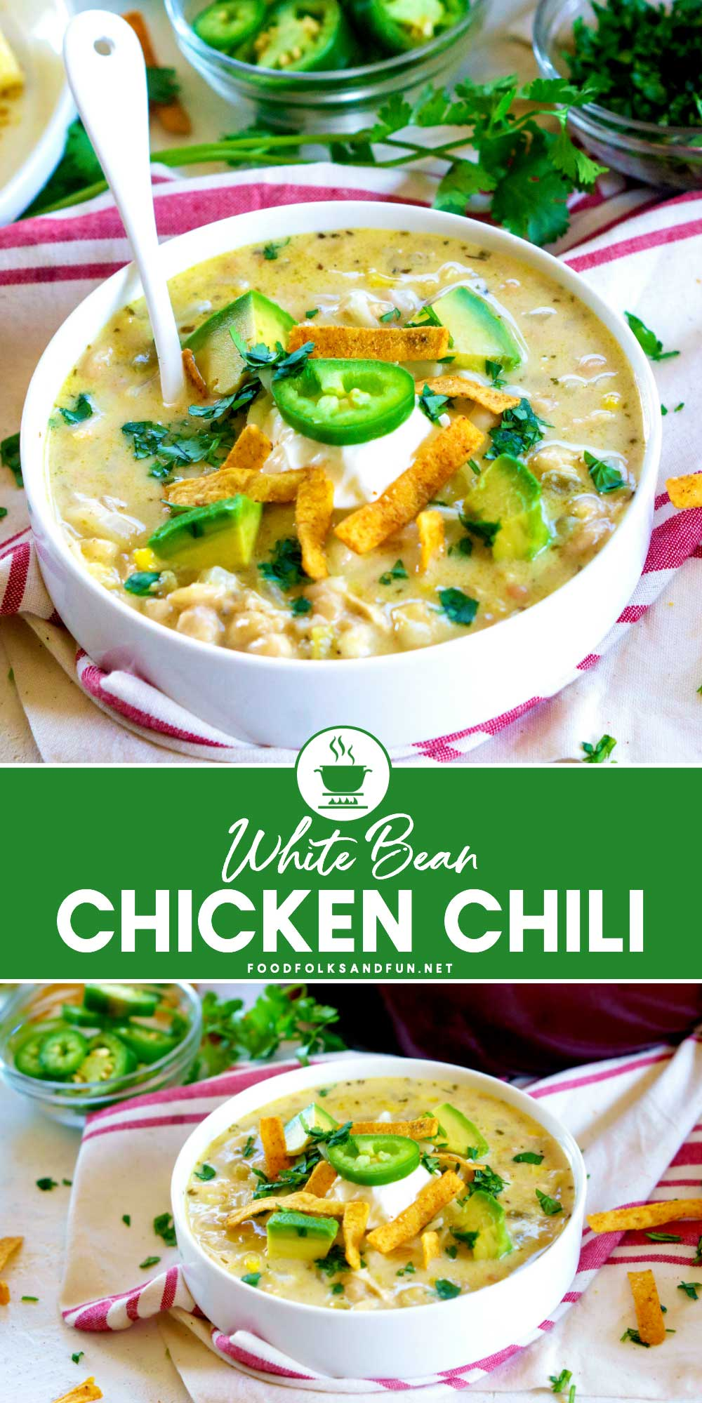 White Bean Chicken Chili with text overlay for Social Media