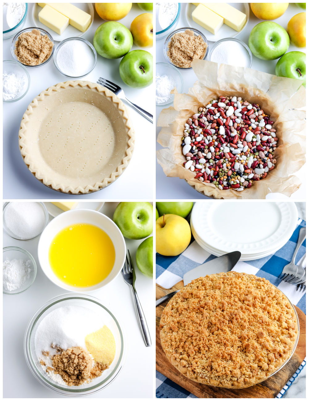 A picture collage of how to make this Dutch Apple Pie recipe.