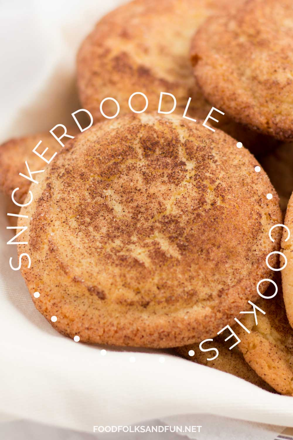 Snickerdoodle cookies with text overlay for Pinterest