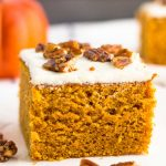 A slice of pumpkin cake on a plate
