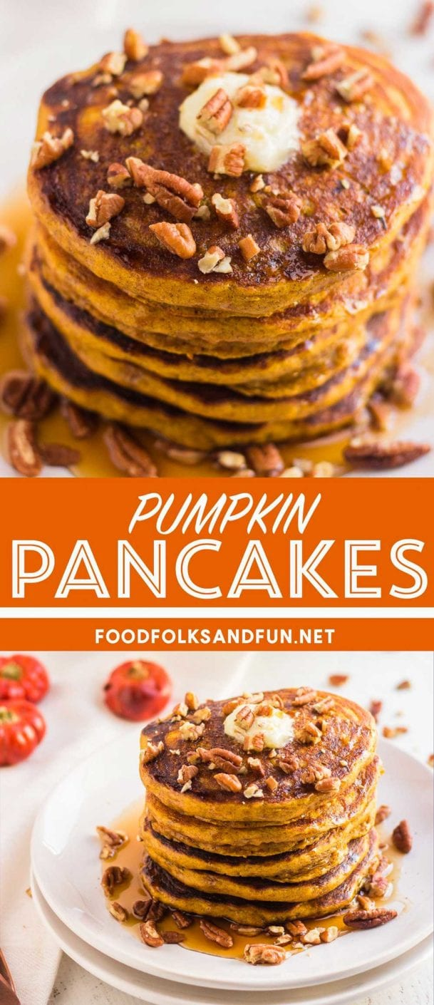 Delicious and fluffy Pumpkin Pancakes that are so easy to make. They're perfect for Fall breakfast or brunch, and they're always a crowd pleaser!