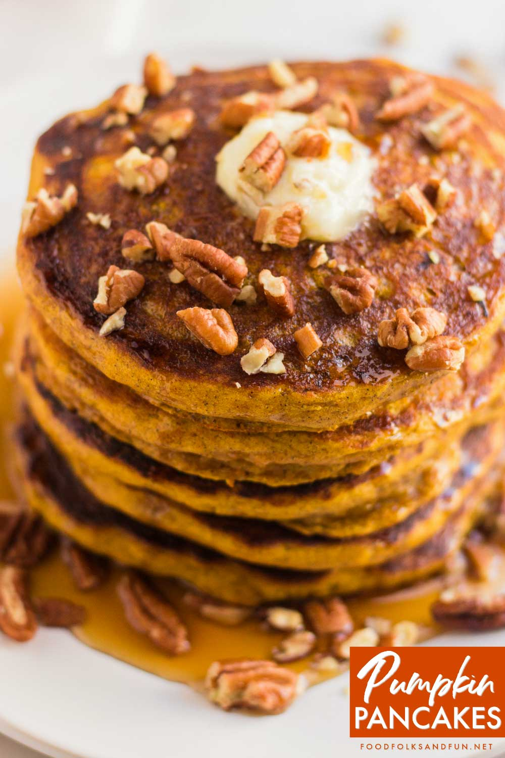 These pancakes have a fluffy, but almost creamy interior. They're definitely a treat for special Fall weekend or holidays as they're some serious comfort food!