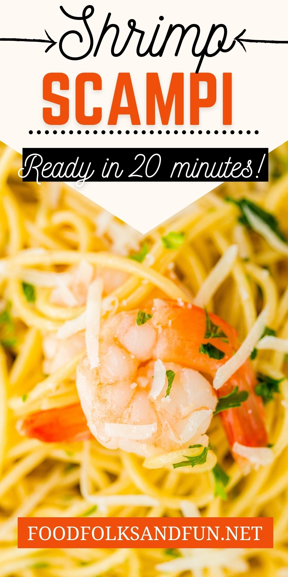 Classic Shrimp Scampi Pasta is an easy Italian comfort food recipe! It's made with butter, garlic, white wine, chicken stock, lemon juice, parsley, and shrimp. via @foodfolksandfun