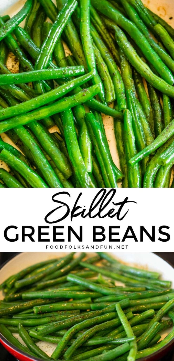 Finished green beans with text overlay for Pinterest.