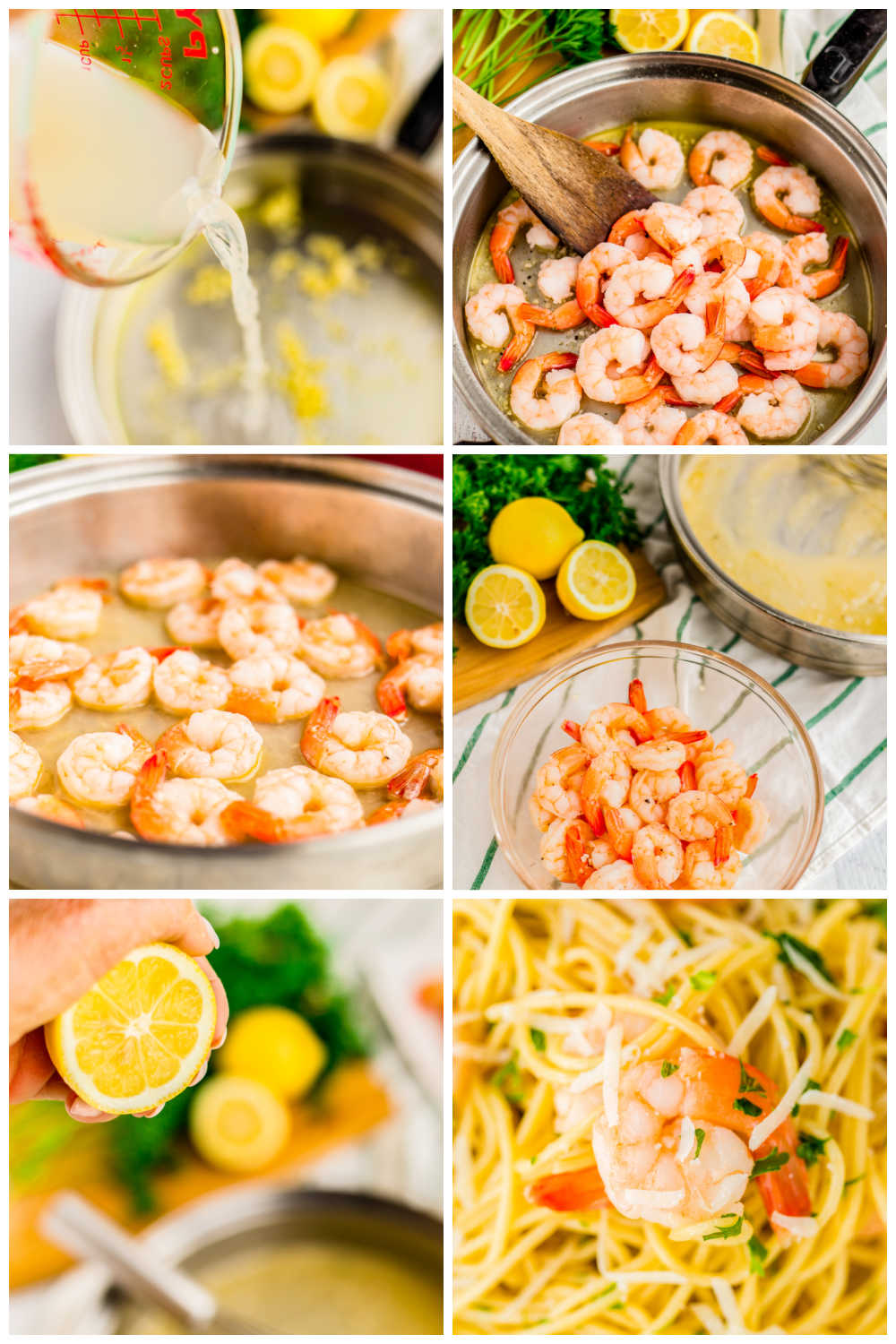 A picture collage of the differnt recipe steps for how to make Shrimp Scampi.