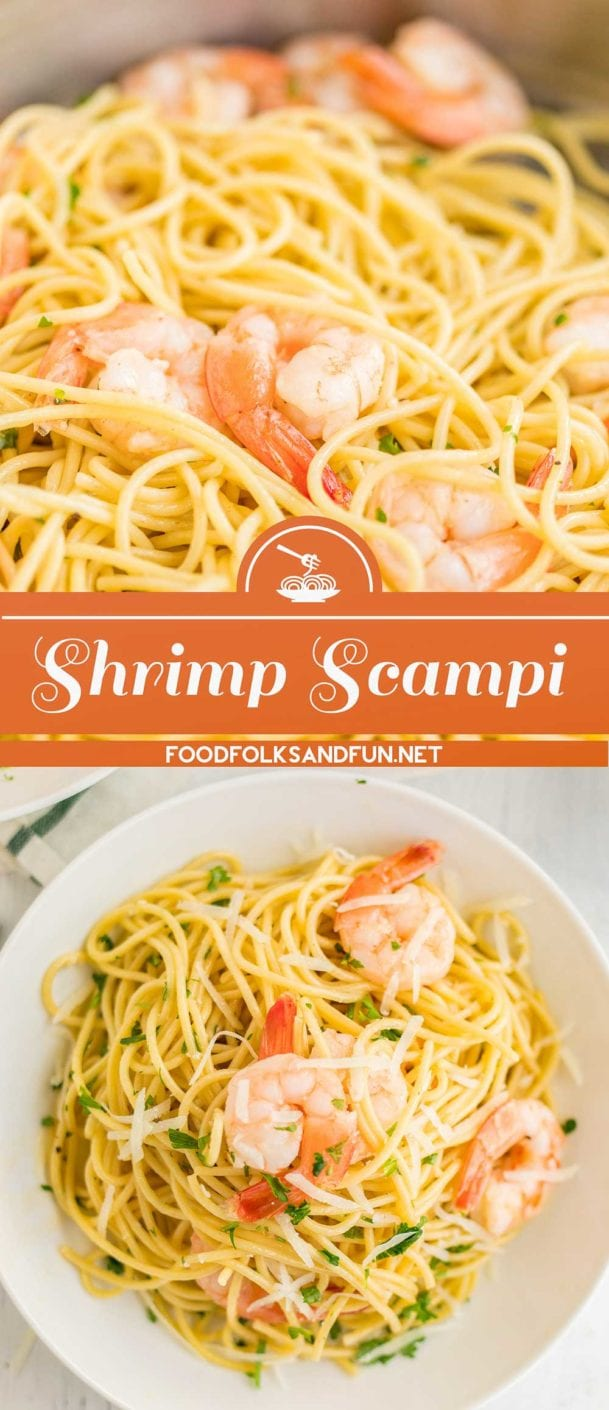 Shrimp Scampi Pasta is classic Italian comfort food! It's made with butter, garlic, white wine, chicken stock, lemon juice, parsley, and shrimp.
