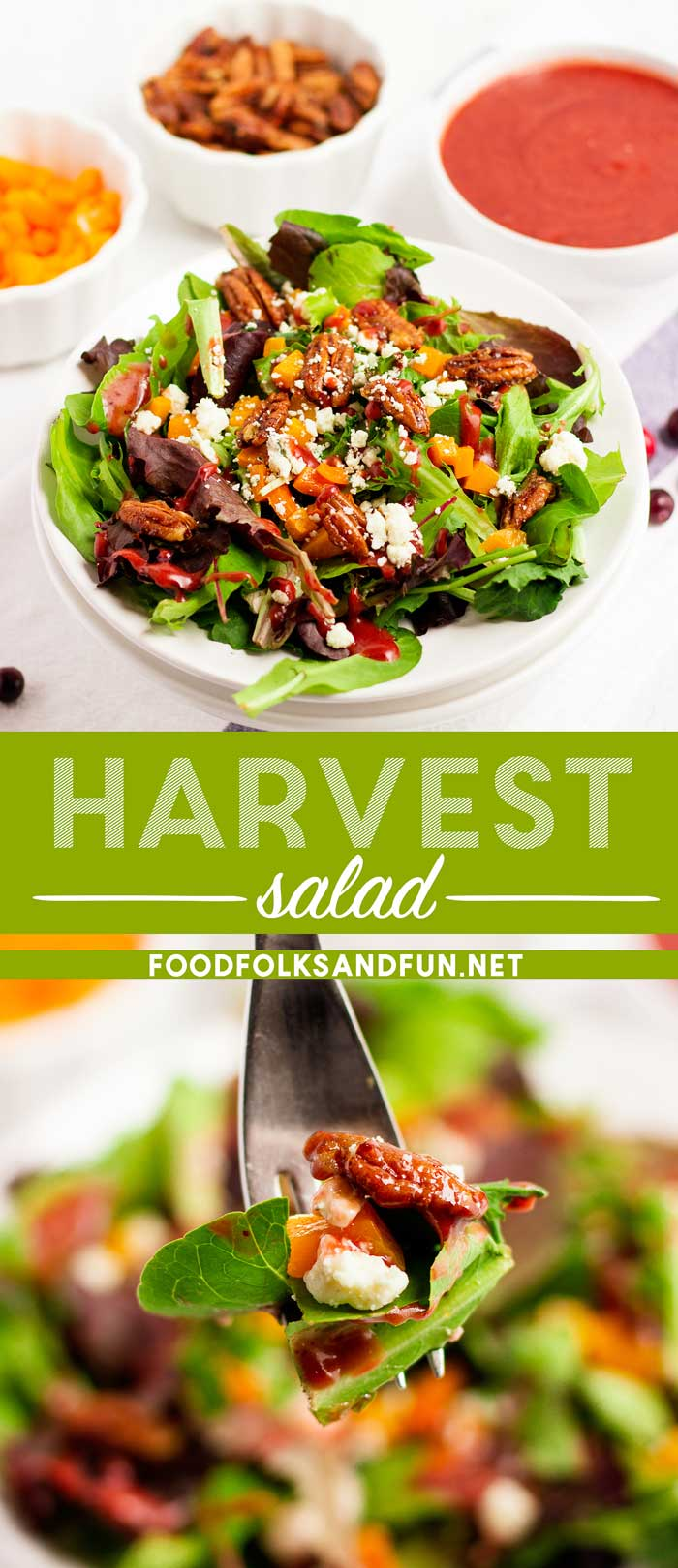 This Thanksgiving Salad recipe is great served as a side dish or as an accompaniment to a charcuterie board before the Thanksgiving meal is served. via @foodfolksandfun