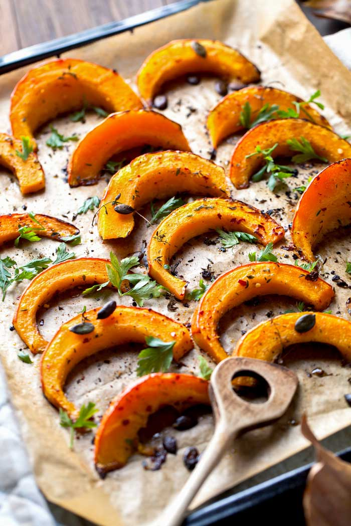 Butternut Squash Slices with Herbs fresh out of the oven.