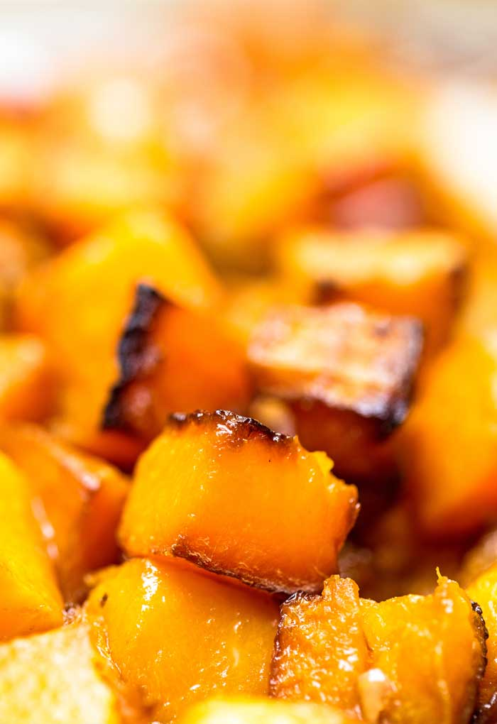Close up picture of Roasted Butternut Squash Cubes