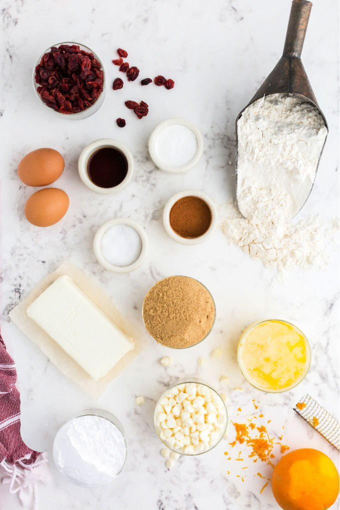 An overhead picture of all of the ingredients needed to make Copycat Starbucks Cranberry Bliss Bars.