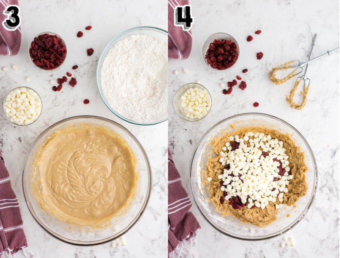 Process shots of how to make Starbucks Copycat Cranberry Bliss Bars