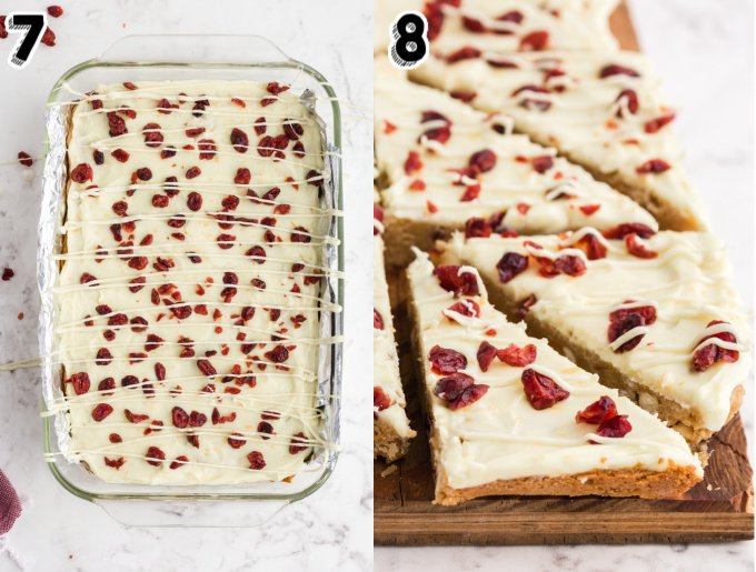 The cranberry bliss bars on a cutting board after they've been cut into triangles.