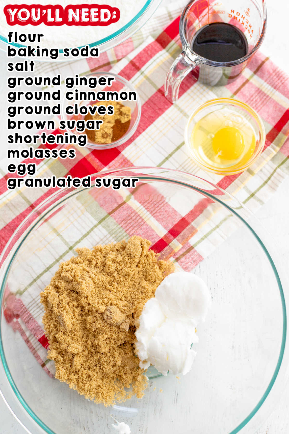 All of the ingredients needed to make this gingersnap cookie recipe.