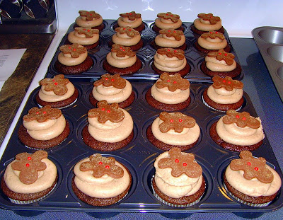 Gingerbread Cupcakes in muffin tins