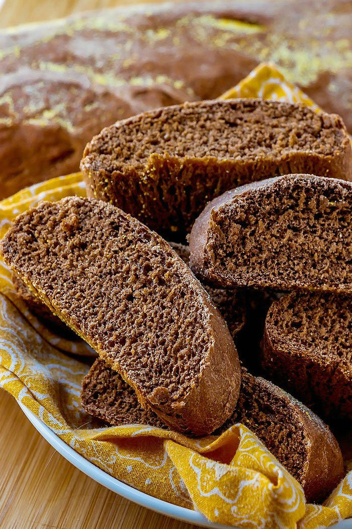 Slices of Copycat Outback Bread in a basket.