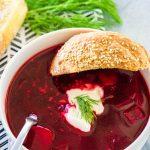 A single serving of Polish Beet Soup