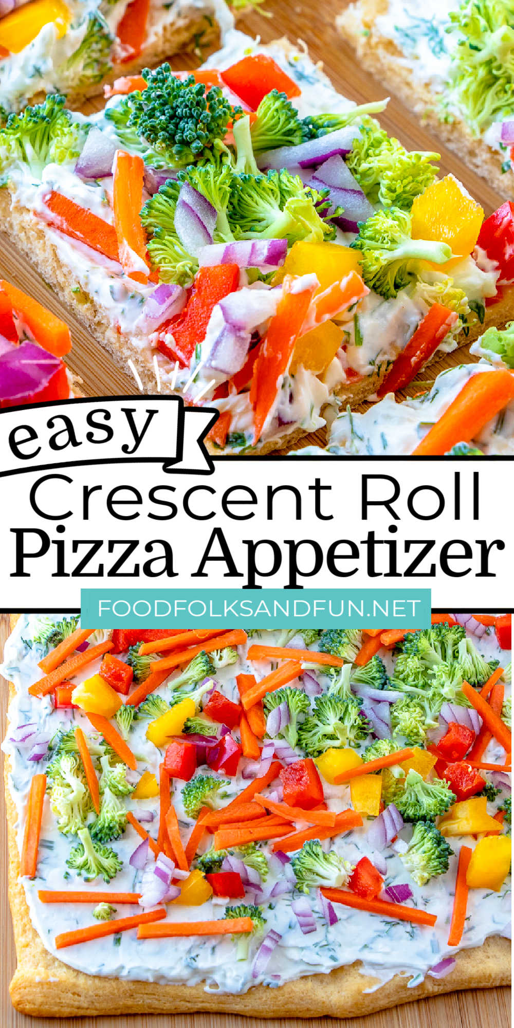 This Simple Crescent Roll Pizza Appetizer recipe is easy to make and always a hit at parties! You can even serve these for dinner! via @foodfolksandfun