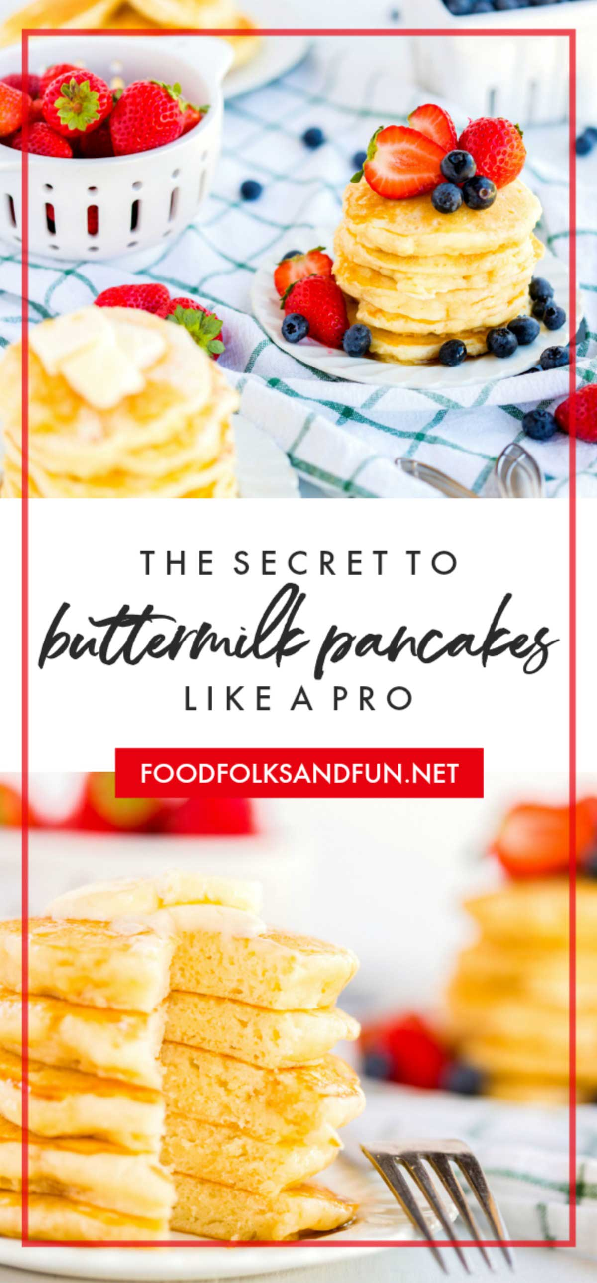 Say goodbye to boxed pancake mix, because these fluffy Buttermilk Pancakes are buttery and have the most amazing melt-in-your-mouth texture. This is simply the best buttermilk pancake recipe and it's so easy to follow! via @foodfolksandfun